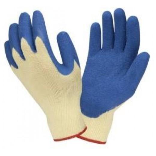 Рабочие х/б перчатки с латексным покрытием R414 Niebieskie