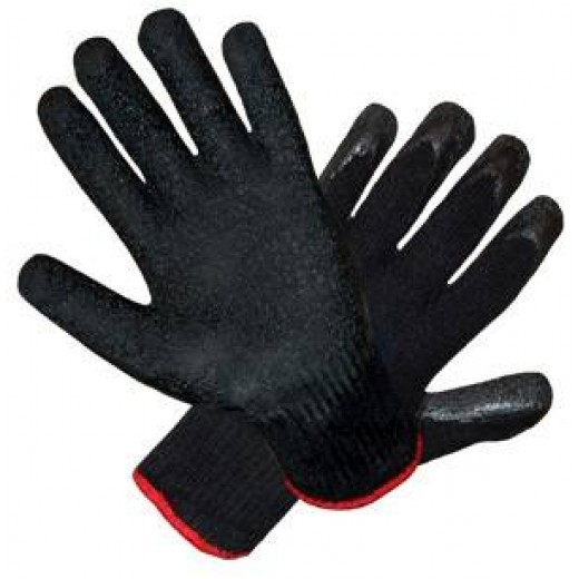 Перчатки арт. 415 (р.10) (черные - черное покрытие) Перчатка из х/б покрыта текстурированным латексом.