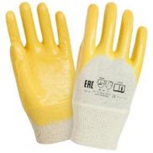 Перчатки х/б с частичным нитриловым покрытием, манжет резинка (арт. ПН007)