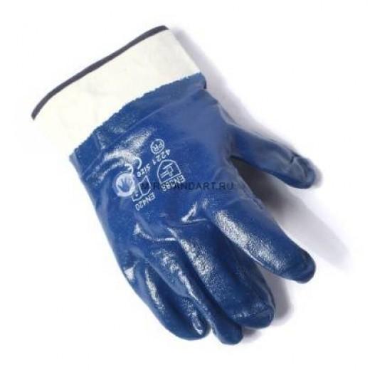 Перчатки маслобензостойкие с нитрильным покрытием, крага (арт. Н607)